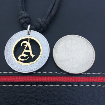 English style letter A, monogram personalized necklace made from a two tone coin