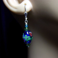Blue Green Lampwork and Crystal Earrings, Mothers Day Gift, Mom Sister Grandmother Bridesmaid Jewelry Gift, Flowers Teal Blue Green