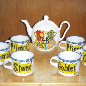 FREE SHIPPING: Harry Potter Book Series Tea Set of 6 mugs and a tea pot Hand Painted, white with blue flowers