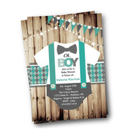 Boy Baby Shower invitation Onesuit bowtie bow tie suspenders rustic oh boy little man baby shower invite gray grey teal blue turquoise