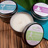 YOGILIGHTS Yoga Candle Set of 3 Aromatherapy Scented Soy Candles - Great Gift for Yoga Lovers!