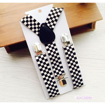 2.5 cm Width Boys Girls Children Toddlers Perform Braces Black and White Checker Clip-on Adjustable Elastic Suspenders YHH0013
