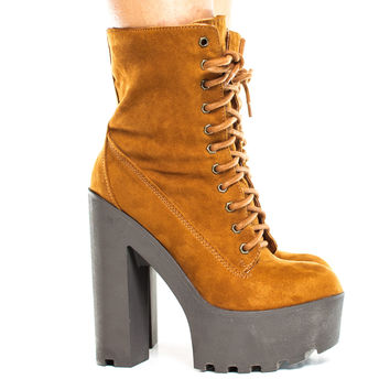 Johnny08 Chestnut By Bamboo, Lace Up Faux Shearling Lining Lug Sole Platform High Heel Boot