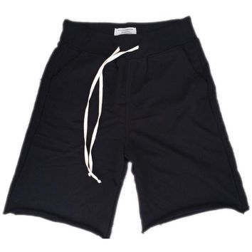 Black French Terry Sweat Shorts w/ Extended Drawsting