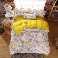 2017 Summer Cotton Bedding Sets Bird on The Branches Wind Bed Sheets Quilt/duvet Cover Pillowcase King Queen Full Twin