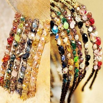 Crystal Hair Bands Alice Band Headband Sparkling Glass Beads Vintage Style New