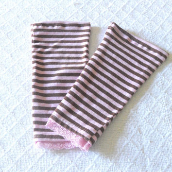 Pink Brown Striped Toddler Leg Warmers Girl, Baby Leg Warmers, Baby Leggings, Baby Boot Socks, Footless Sock, Baby Boot Cuff, Ankle Warmer