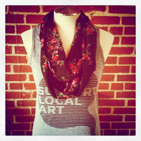 Black Floral Print Infinity Scarf by shannabanana
