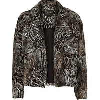 River Island Womens Black print crepe cropped trench coat