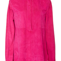 Long Sleeve Suede Blouse | Moda Operandi