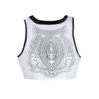 CROP TOP WITH APPLIQUE AND PU TRIM