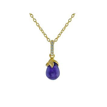 14k Gold Pl Sterling Silver Amethyst Flower Bulb Pendant Necklace, 16""