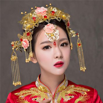 Vintage Chinese Traditional Bridal Headdress Tassels Chain Hairpin Gold Color Women Vintage Headwear Wedding Jewelry Hair Combs