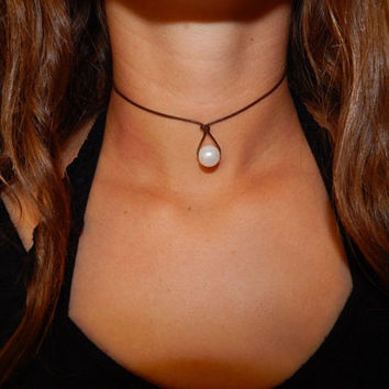 Pearl Leather Teardrop Choker Necklace -Christmas gifts