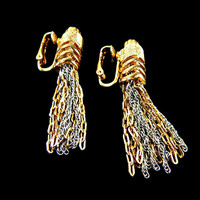 Tassel Bracelet and Earrings Set Gold on Sterling Silver Signed Alice Caviness Original Tags
