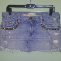 Studded Jean Skirt by SissyJeans on Etsy
