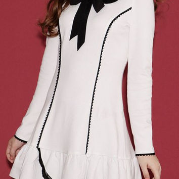 White Long Sleeve Bow Tie Flounce Dress