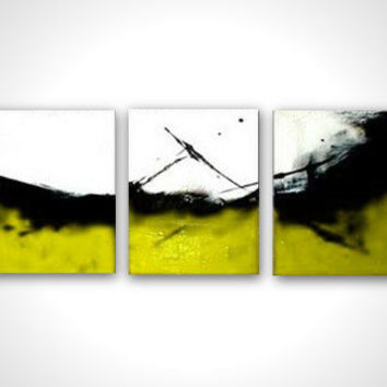 Yellow canvas art - Abstract artwork - Modern art deco - Yellow wall art - White black oil painting - Abstract painting - Ready to hang