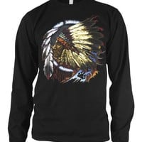Indian Chief Mens American Indian Thermal Shirt, Native American With Feather Headdress Thermal