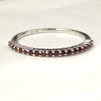 Garnet Wedding Ring 14K White Gold,Natural Red Gemstone,Engagement bridal ring,Half Eternity Matching Band,Anniversary Ring,Stackable ring