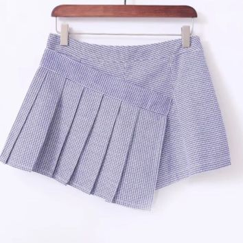 FREE SHIPPING Fall slim-fit high-waisted plaid pleated skirt web celebrity skirt with lining