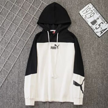 PUMA Fashion New Bust Embroidery Letter Horse And Back Letter Print Women Men Hooded Long Sleeve Sweater Black