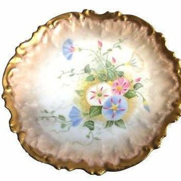 Antique Limoges Hand Painted French Porcelain Plate Heavy Gold Morning Glories