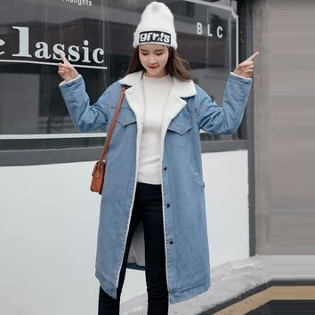 Winter Warm Fur Jeans Jacket Women Bomber Jacket Blue Denim Jacket Coat with Full Warm Lining & Front Button Flat Pockets