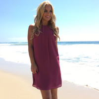Hopeless Romantic Shift Dress In Plum
