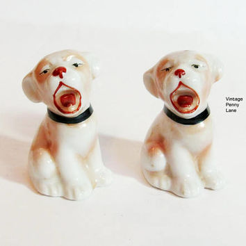 Vintage Salt and Pepper Shakers, Ceramic Barking Dogs by JAPAN