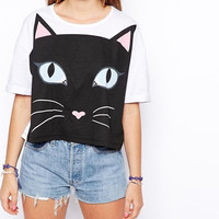 White Cat Print Short-Sleeve Tank Shirt