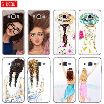 silicone cover phone case for Samsung Galaxy J1 J2 J3 J5 J7 MINI 2016 2015 prime Girls Brunette Blonde Best Friends BFF Matching