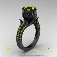 Classic 14K Black Gold 1.0 Ct Yellow Sapphire Solitaire Wedding Ring R410-14KBGYS