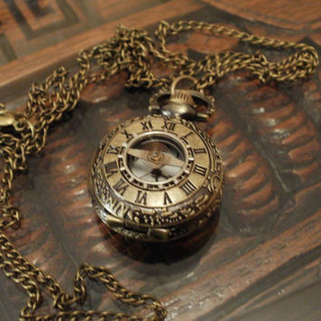 Steampunk Clock Spring Miniature Pocket Watch by punqd on Etsy