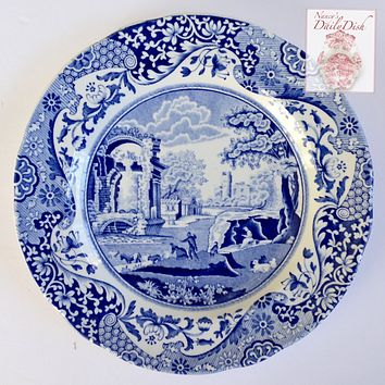 Vintage Spode Blue Italian Bread / Side Plate Countryside Sheep and Horses