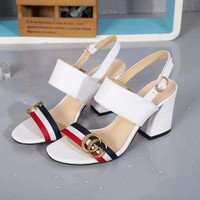Gucci 2019 Women High Heel 70mm Ladies Casual Slippers White Sandals Slippers