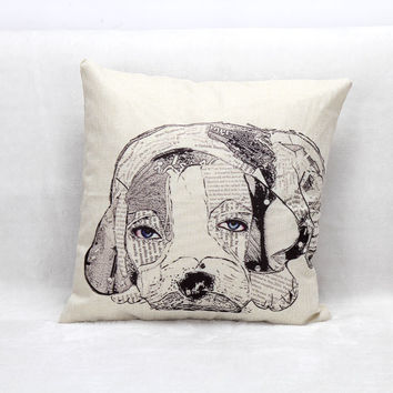 Vintage Printed Pillow Case Cute Dog Newspapers Cushion Cotton Linen Cover Square 45X45CM