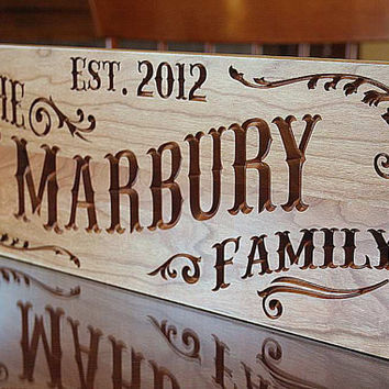 Last Name Sign Rustic Home Decor Sign Custom Wedding Sign Family Name Sign In Wood Wedding Established Sign Anniversary Cherry RB