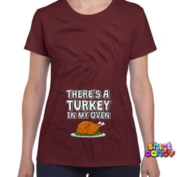 Thanksgiving Pregnancy Announcement Matching Shirts For Couples Expecting Mother Maternity T-Shirt Turkey T-Shirt Holiday Ladies Tee DN-181