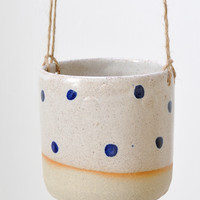Hanging Planter - Cobalt Dot