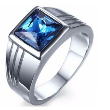 Blue Sapphire Stainless Steel Wedding Ring For Men