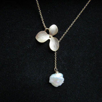 ORCHID Necklace - Keishi Freshwater Pearl Gold Filled Chain Lariat Necklace Bridal Wedding Bridesmaids Maid of Honor Gifts