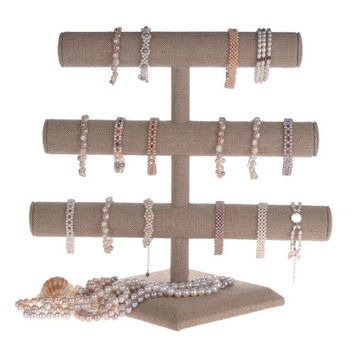 Beige Linen Triple Tier Jewelry Bracelet Organizer Display Stand