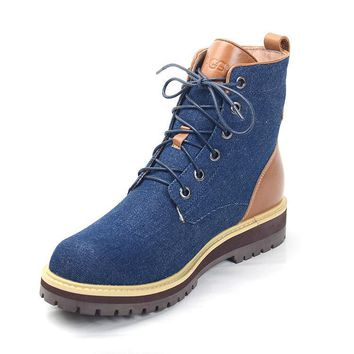ESBON UGG 1004844 Tall Lace-Up Men Fashion Casual Wool Winter Snow Boots Blue