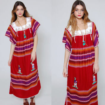 Vintage 80s MEXICAN Dress Ruby Red EMBROIDERED Hippie Maxi Dress Ethnic Blanket Dress CROCHET Festival Dress