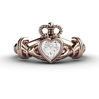 Diamond Claddagh Ring Irish Engagement Ring Promise Ring 14K White Yellow or Rose Gold Palladium