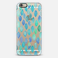 Watercolor Leaf Pattern in Blue & Turquoise on Crystal Transparent iPhone 6 case by Micklyn Le Feuvre | Casetify