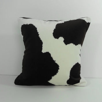 Cowboy Throw Pillow, Decorative Pillow Cushion, 12 x 12, Brown and White, Western Pillow, Cow Pillow Cover