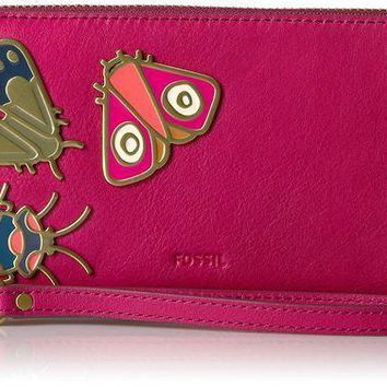 PEAPGQ6 Fossil Emma Rfid Large Zip Clutch Raspberry Wine Wallet