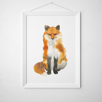 Watercolor poster Cute fox art Nursery print ACW44
